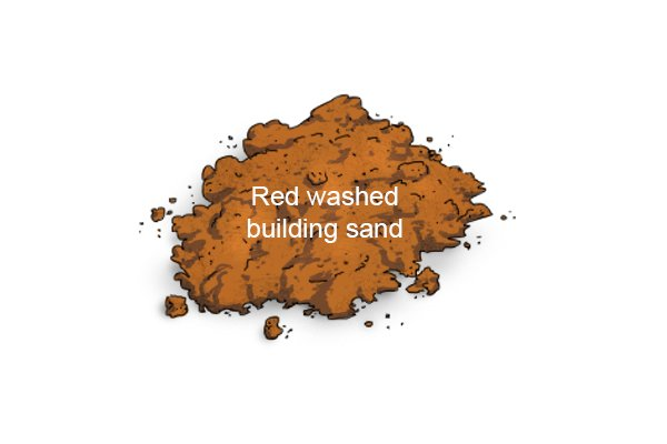 Red washed building sand