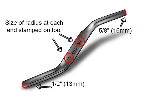 Radius at either end