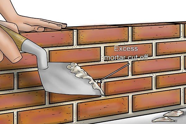 Excess mortar cut off