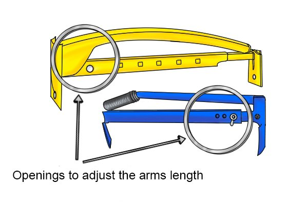 The two arms which are slotted into each other, have openings, which must be aligned when setting a length. When you have chosen your desired length the arms are locked using a bolt and wing nut.
