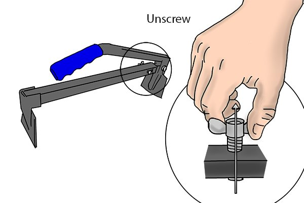 Adjust the length by unscrewing the wing nut and taking the bolt out of the opening.