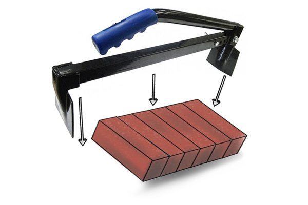 Carefully place the clamp either end of the bricks with the fixed end securely placed up against the brick to support the load.