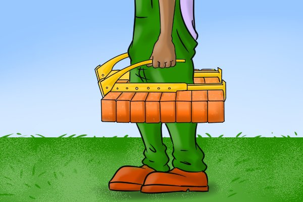Now you have your bricks clamped you can carry them by your side to your chosen area.