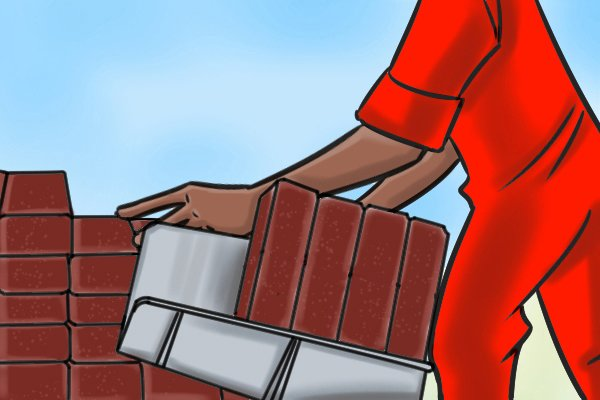 A hod is usually able to carry 4 bricks when on their side, otherwise, you can place the bricks in a chevron fashion which will increase the number of bricks that can be carried.