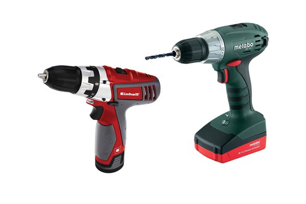 Two cordless drill drivers one green and the other red