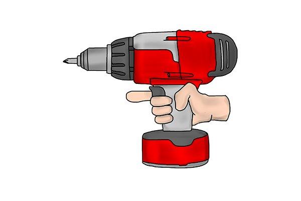 Hand holding a cordless drill driver with the finger off the speed control trigger
