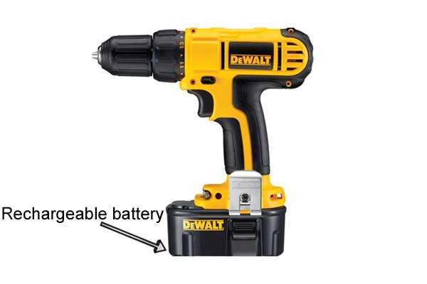 Cordless drill driver with re-chargable battery