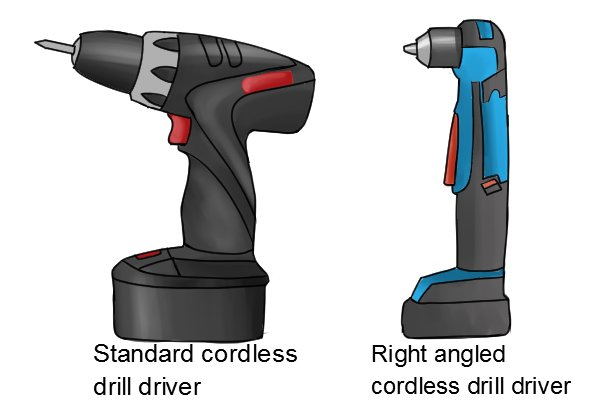 right angled cordless drill driver and a standard cordless drill driver