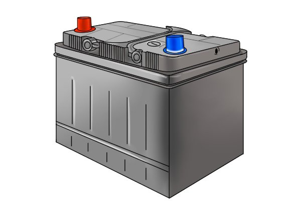 Battery with plus and minus symbols in a black box