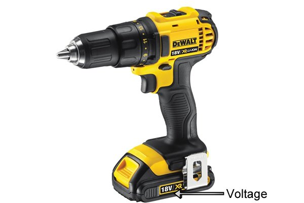 Voltage labelled on the side of a yellow cordless drill driver 18 volts