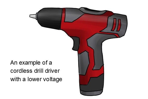 Red and grey cordless drill driver with a lower voltage
