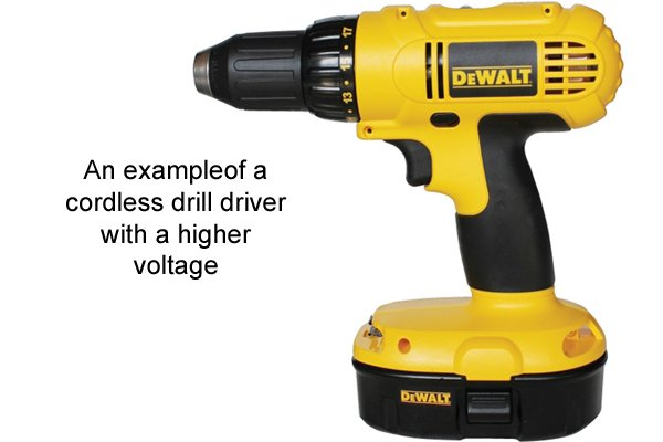 Yellow cordless drill driver with a higher voltage