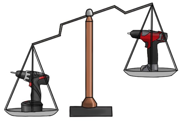 Scales with two cordless drill drivers with different voltages and weights
