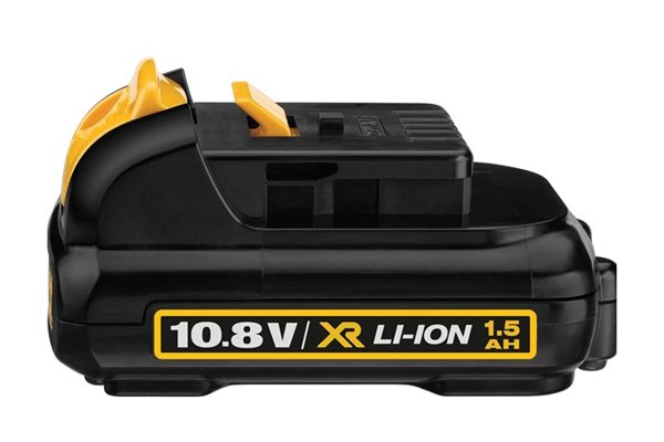 yellow and black 10.8 volt spare cordless drill driver battery with a red circle around the 1.5 AH symbol
