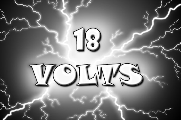 Sign saying system 18 volts on a black and yellow background
