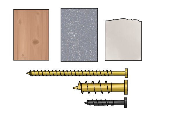 Softwood, metal, plastic and three different sizes of screws