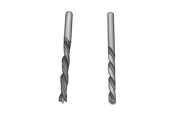 Two Silver and black drill bits