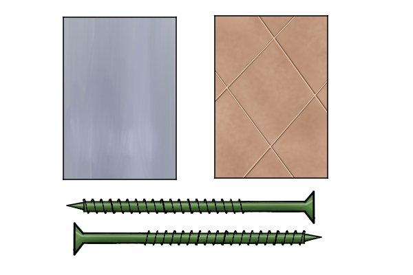 Sheet of metal, ceramic tiles and three large screws