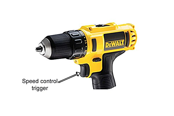 Speed control trigger of a cordless drill driver