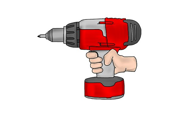Finger holding the trigger of a yellow cordless drill driver