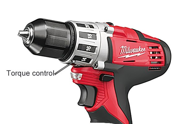 Torque control on a red compact cordless drill driver
