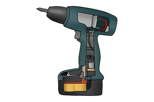 Cordless drill driver with the inside mechanisms revealed