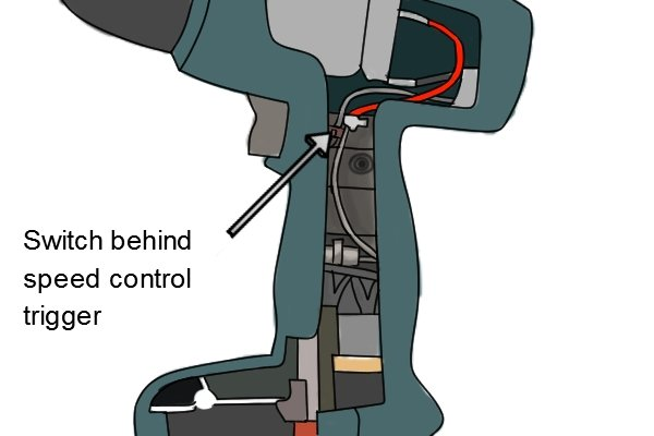 Switch behind the speed control trigger inside a cordless drill driver