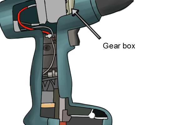 Gear box inside a cordless drill driver