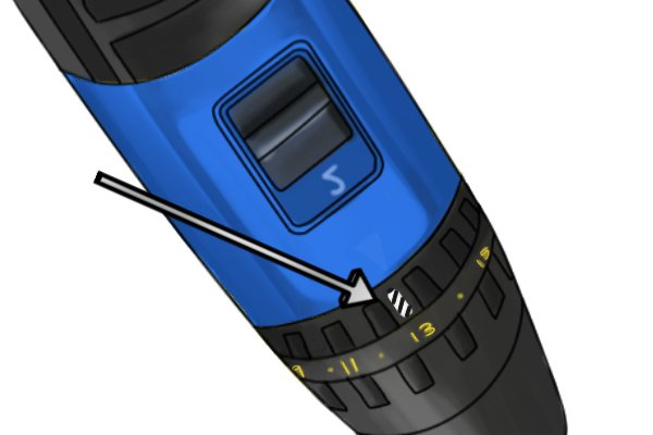 Zoomed in picture of the drill mode symbol on a cordless drill driver