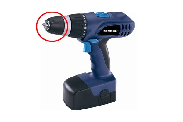 Blue cordless drill driver with a red circle around the chuck
