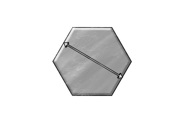 Grey hexagon with a double ended arrow across the centre