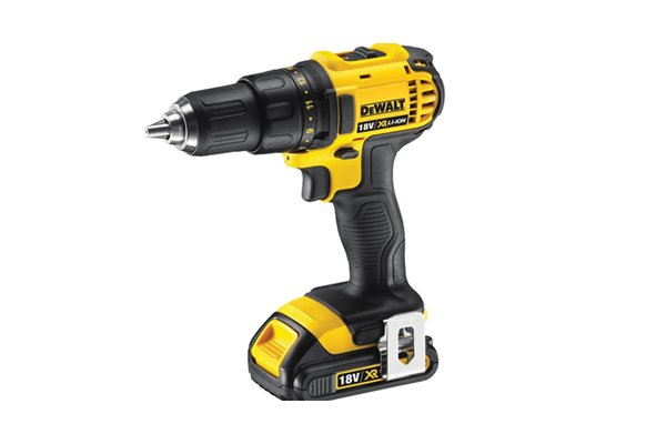 Yellow and black cordless drill driver with a 13mm chuck