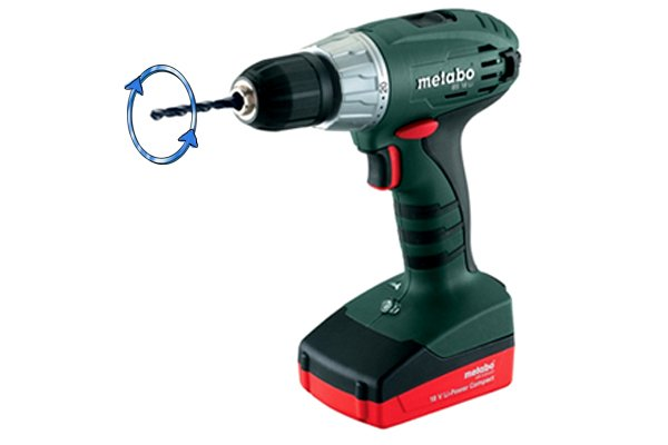 A cordless drill driver set in reverse