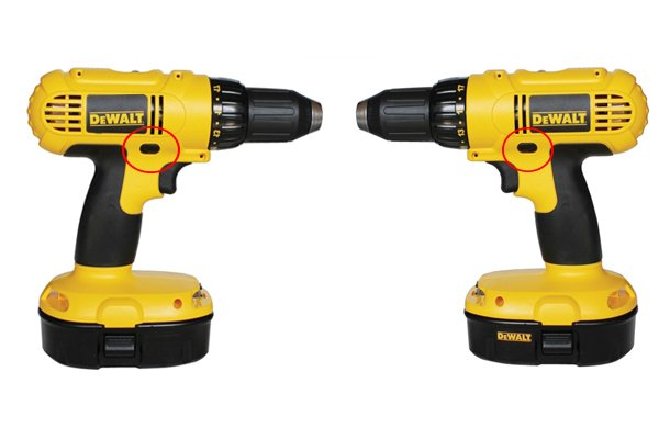 A view of two sides of a cordless drill driver with a red circle around the reverse button on each side