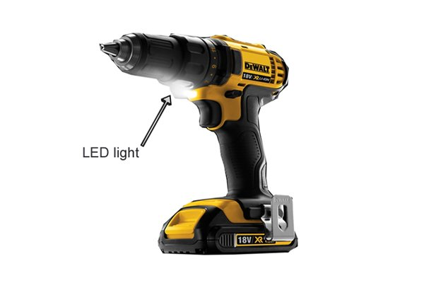 LED light on a yellow cordless drill driver