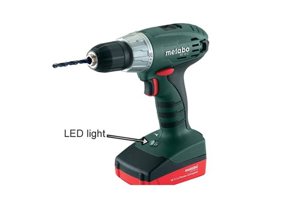 LED light on the base of a cordless drill driver