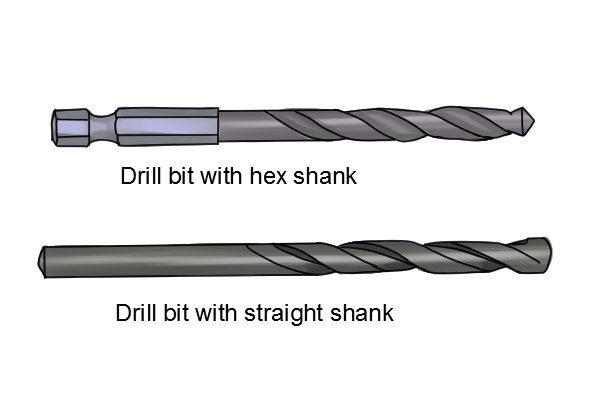 Silver drill bit with a hex shank and a gold drill bit with a straight shank