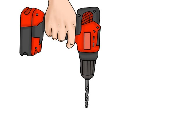A cordless drill driver with an electric brake when the speed control trigger is released