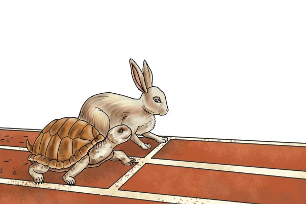 Tortoise and the hare next to each other on the starting line