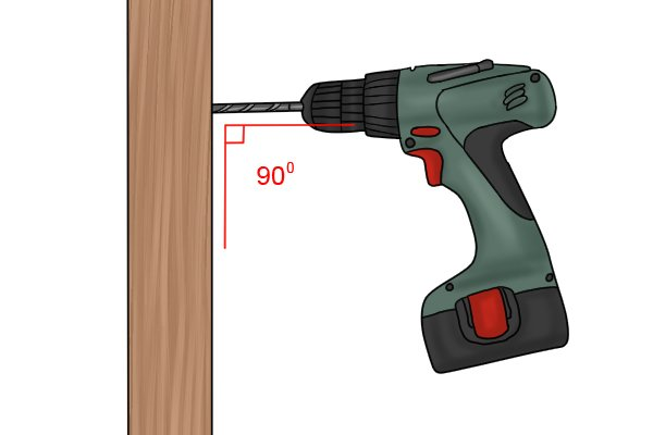 A cordless drill driver drilling a piece of wood at 90 degrees