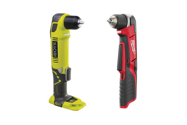 Two cordless right angle drill drivers one red and one green