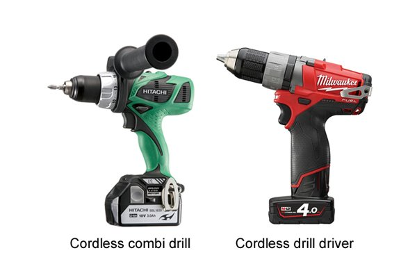 Green cordless combi drill driver and red cordless drill driver