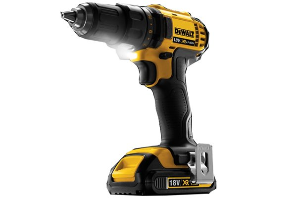 Yellow cordless drill driver with LED light