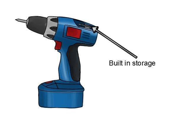 Built-in storage on a blue cordless drill driver