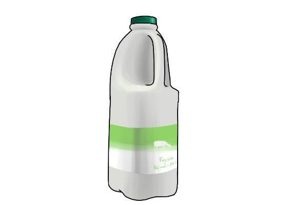 1 litre bottle of milk with green labels