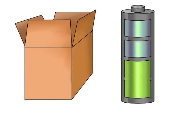 cardboard box plus a battery