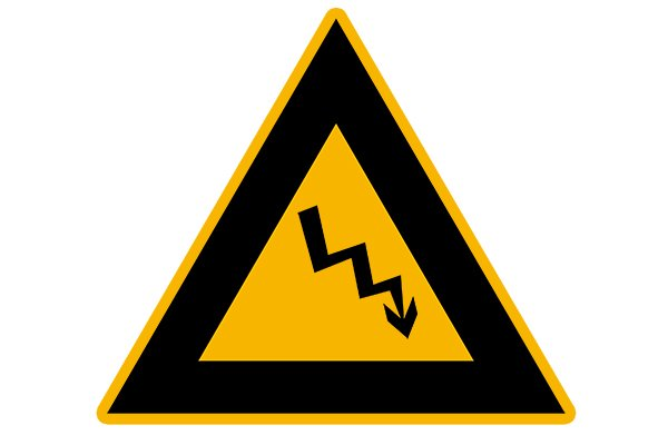 Voltage symbol - yellow and black lightning blot in a triangle