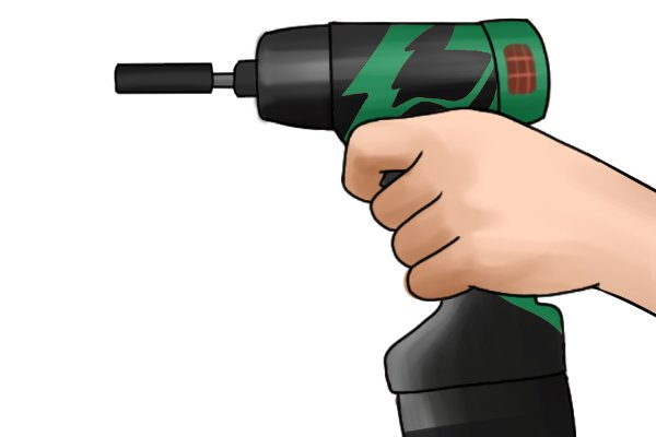 Cordless impact driver with the trigger being pressed