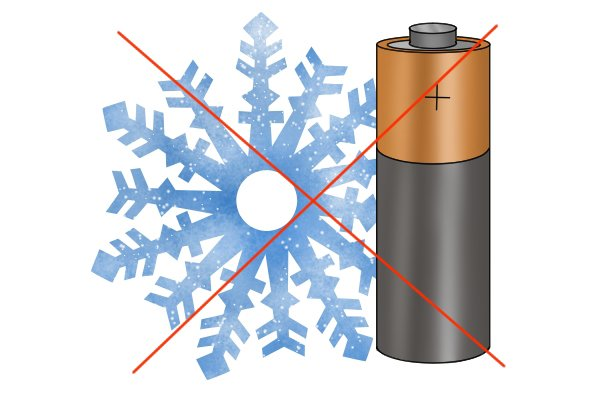 Battery and snowflake with cross through it