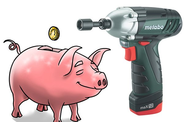 Low voltage cordless impact driver and a piggy bank